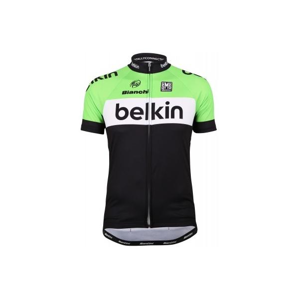 Santini-Replica-Belkin-Childrens-Short-Sleeve-Cycling-Jersey-Black-Green