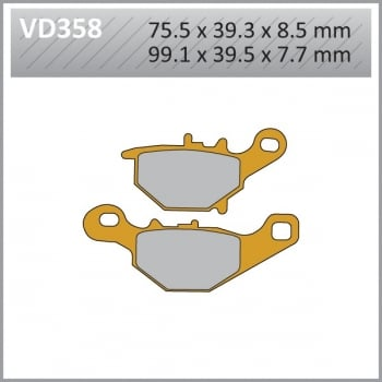 Vesrah VD358 Semi-Metallic Brake Pads (FA401) - Suzuki RM85 2005-15 - Rear