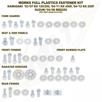 Bolt Hardware Full Plastic Kit Fastener Bolt Set - KAW/SUZ KX125/250 03-08, KX250F 04-16, KX450F 06-15 WK (R)