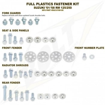 Bolt Hardware Full Plastic Kit Fastener Bolt Set - SUZUKI RM125/250 01-08