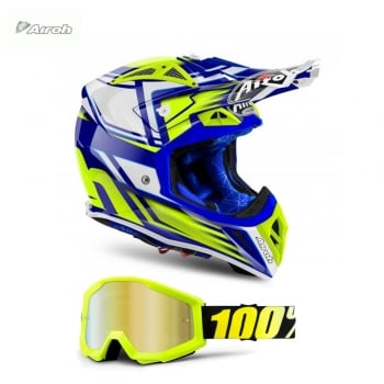 Airoh Adults Aviator 2.2 Restyle MX Helmet - Yellow - INCLUDES FREE GOGGLES!
