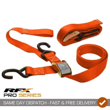 RaceFX RFX Pro Series Heavy Duty 1.5 Tie Downs With Extra Loop & Carabiner Clip - Orange