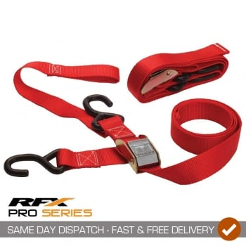 RaceFX RFX Pro Series Heavy Duty 1.5 Tie Downs With Extra Loop & Carabiner Clip - Red