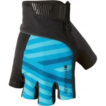 Madison Sportive Men's Fingerless Mitts Gloves - Geo Carribean Blue/ Black
