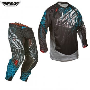 "Fly Racing Evolution Clean Spike Pants & Jersey Kit - Black/ Blue - 30""/ Small"
