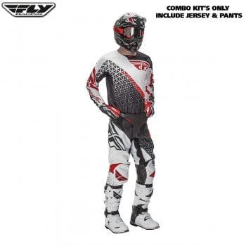 "Fly Racing 2016 Kinetic Trifecta Adult Pant & Jersey Kit - Black/ White/ Red - 30""/ Small"