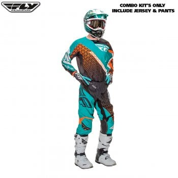"Fly Racing 2016 Kinetic Trifecta Adult Pant & Jersey Kit - Black/ Teal/Orange - 30""/ Small"