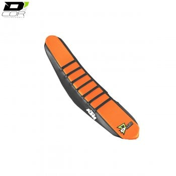 D'Cor Gripper Factory Rib Seat Cover - Black/Orange/Black - KTM SX/SXF 125-450 2016>On