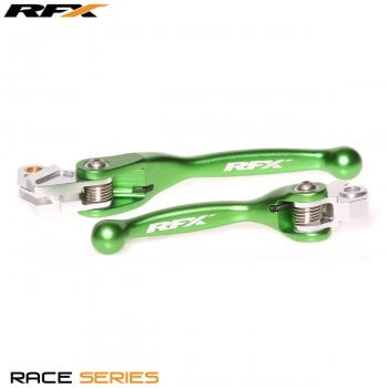 RaceFX Race Flexible Levers Set - Kawasaki KX65/85/100 00-17, KX125/250 00-08, Suzuki RMZ250/450 07-17 - Green