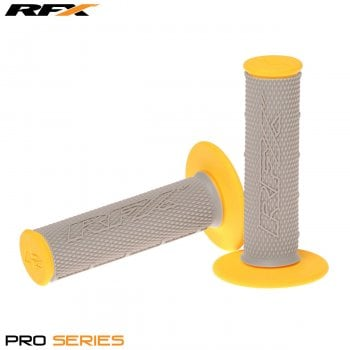 RaceFX Pro Series 20500 Dual Compound Motocross Grips - Grey/ Yellow