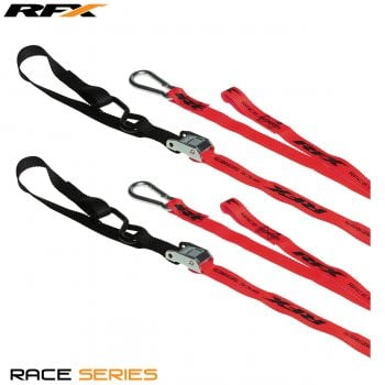 RaceFX RFX Race Series 1.0 Tie Downs With Extra Loop & Carabiner Clip - Red