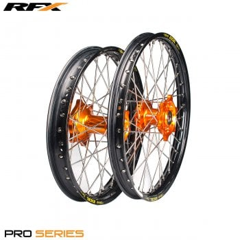 "RaceFX Pro Series Wheel Front And Rear Set (Black Rim/Orange Hub) [19"" x 2.15] KTM SX/SXF 125-450 15>On"