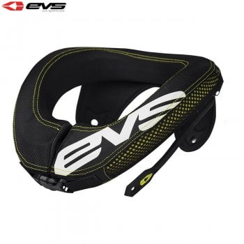 EVS Youth R3 Neck Protector Including Armour Straps - Black/Hi-Viz Yellow - One Size