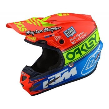 Troy Lee Adults SE4 Composite Team Edition 2 KTM Helmet - Orange/ Blue