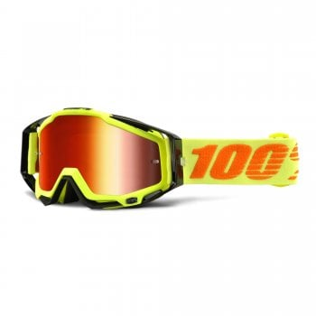 100% Adults Racecraft MX Goggles - Attack Yellow With Red Lens