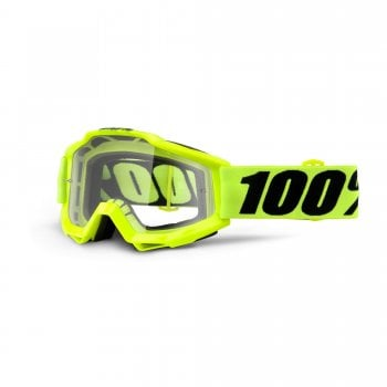 100% Accuri Goggles - Fluro Yellow With Clear Lens