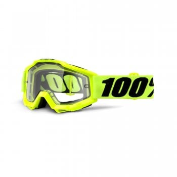 100% Accuri Enduro MOTO Goggles - Fluro Yellow With Clear Dual Lens