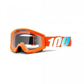 100% Adults Strata Goggles - Orange With Clear Lens