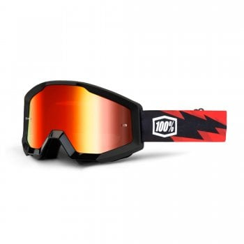 100% Adults Strata Goggles - Slash With Red Mirror Lens
