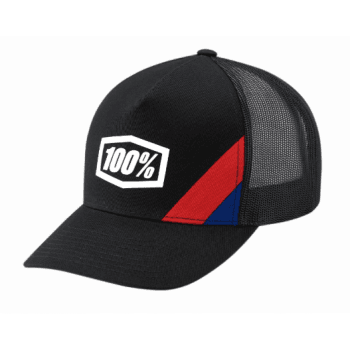 100% Adults Cornerstone X-FIT Adjustable Hat - Black/ Red