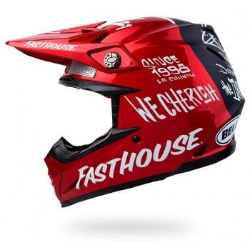 Fasthouse Bell Adults Day In The Dirt 21 Moto-9 Flex Helmet - Navy/ Red