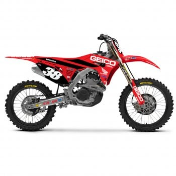 D'Cor 2019 Team Geico Honda Full Graphics Kit - Honda CRF250 2014-17 - Black Background