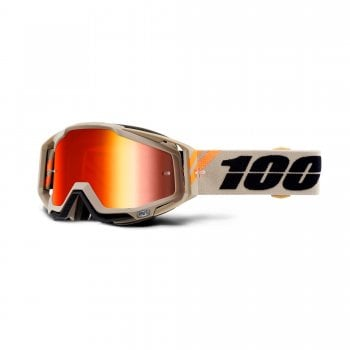 100% Adults Racecraft Goggles - Poliet With Red Mirror Lens