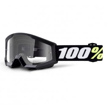 100% Youth Strata Mini Goggles - Black with Clear Lens