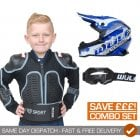 Kids Cub Off Road Pro Helmet, Deflector & Goggles Combo - Blue