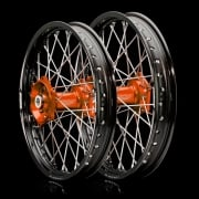 EVO Wheel Set - KTM - SX125/150/250, SXF250/350 12-14, SXF450 13-14 BLACK RIM ORANGE HUB