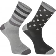 Sportive Long Cycle Socks - Hex Dots - Twin Pack