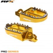 Pro Series Shark Teeth Foot Pegs - Suzuki RMZ 250 2007-09, RMZ 450 2005-07 - Yellow