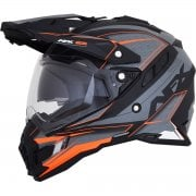 Adults FX-41DS Eiger Adventure Dual Sport Helmet - Frost Grey/ Orange