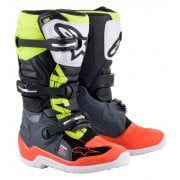 Youth Tech 7S Boots - Grey/ Fluro Red/ Furo Yellow