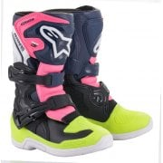 Kids Tech 3S Boots - Black/ Blue/ Fluro Pink