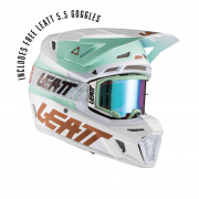 Adults 2021 8.5 Moto Helmet V21.1 With Goggles - White/ Light Blue