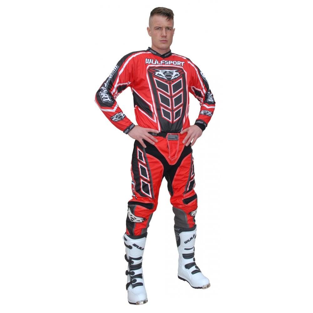 Pants Wulfsport Aztec Adult Black Grey Motocross Kit Off Road MX Shirt